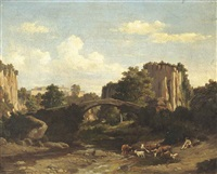 a herder resting in an italianate landscape by felix-hippolyte lanoue