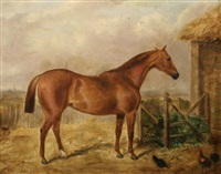 horse in a landscape with chickens by george henry laporte