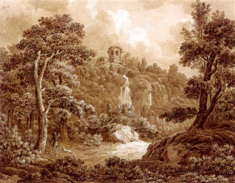 an arcadian landscape with a huntsman and his dog a seated peasant woman verso by johann sebastian bach the younger