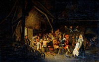 a barn interior with peasants feasting and dancing by bartholomeus molenaer