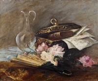 nature morte à l'éventail au coffret, à la carafe et aux roses by antoine vollon