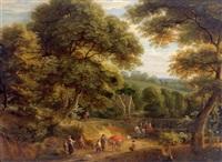 bewaldete landschaft mit reisenden auf einer straße (in collab. w/pieter bout) by lucas achtschellinck