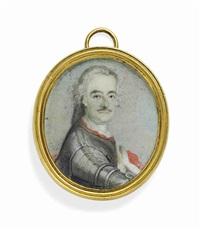 leopold i, prince of anhalt-dessau (1676-1747), called der alte dessauer in armour, white cravat, with ermine-trimmed red cloak, powdered wig by german school (18)
