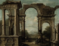 an architectural capriccio with figures beneath an arch by niccolò codazzi