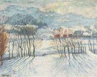 paysage en hiver by arnold borisovich lakhovsky