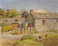 farm buildings with hens by a pond by mary duncan