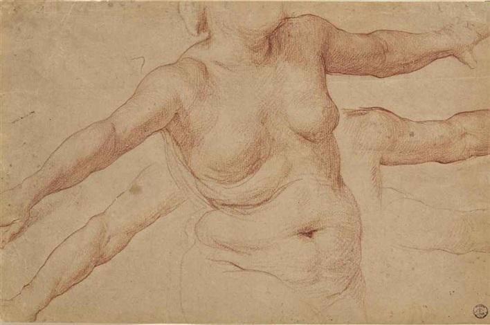 buste de femme nue et études subsidiaires de ses bras by simone pignoni