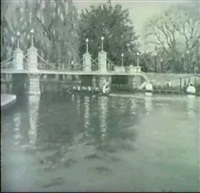 swan boats on the pond/a view of the public garden, boston by e. joseph fontaine
