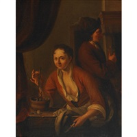 lady holding a herring while a visitor savours the toast by dominicus van tol