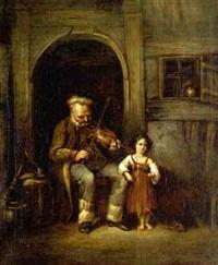 grossvater spielt seiner kleinen enkelin auf der geige vor by johann friedrich karl kreul