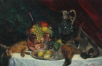 nature morte with fruit and wine by andreas moe