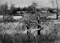 the farm across the meadow, winter by edward barnard lintott