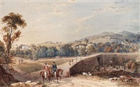 figures by bridge over a river (+ native workers on a country road; 2 works) by james hakewill