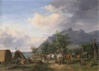 an encampment by a river in a mountainous landscape by karl altmann