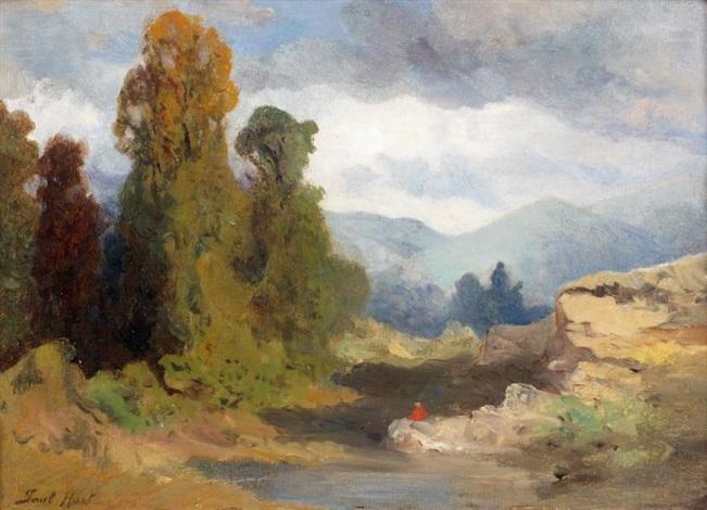 personnage assis sur un rocher dans un paysage de montagne by paul huet