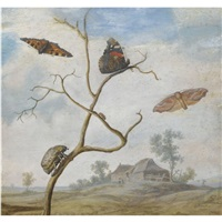 a cockchafer on a branch, two butterflies, a moth and a small beetle above, and a landscape behind by margarethe de heer