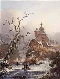 an idyllic winter scene with woodgatherers near a castle by frederik marinus kruseman