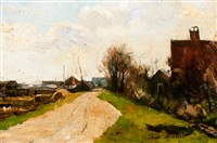road on a dike with farms by frits maris