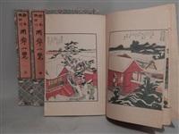 ehon sumidagawa ryogan ichiran, vue panoramique des deux rives de la rivière sumida (set of 3 volumes) by katsushika hokusai