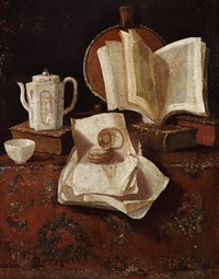 still life with books, jug and clock on a flowered rug by pieter gerritsz van roestraten