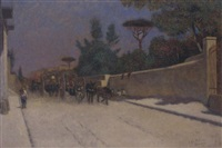 barrel wagons on an italianate street by e. a. relen