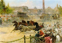 the race of the riderless horses, rome by augusto alberici