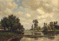 loading a boat on a riverbank near a farm by jan willem van borselen