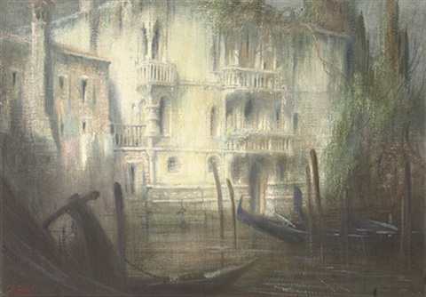 a venetian backwater at dawn by gennaro favai