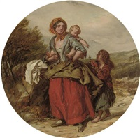 a mother and children on a country road (+ another; pair) by william mulready