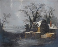 a winter landscape with a watermill beside a frozen river by george smith of chichester
