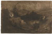 mountainous landscape with two bathers by rodolphe bresdin