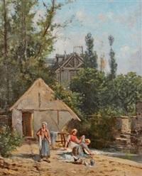 les lavandières près du moulin by charles théodore sauvageot