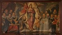 vierge entourée d'anges et de donnateurs dont des membres du serment des arbalétriers d'enghien by flemish school-malines (17)