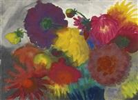 sonnenblumen und pfingstrosen (sunflowers and peonies) by emil nolde