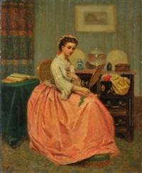 jeune fille au miroir by paul seignac