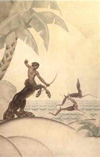 centaure chassant des biches by andré david