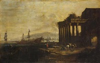 a mediterranean harbour with moored shipping with figures on a quayside by johann anton eismann