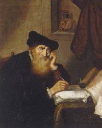 a scholar writing at a table by salomon koninck