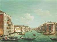 the grand canal, venice, on regatta day, with the palazzo balbi and the ca foscari by canaletto