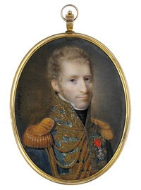 a young general or marshal in blue uniform with gold laurel embroidery by ferdinand machera