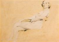 desnudo sentado by manuel alcorlo