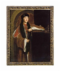 portrait of king henry vii, standing three-quarter length, in a gold ermine lined cloak and black cap, a crown at his side by hans holbein the younger