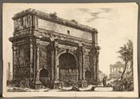 vedute dell'arco di settimio severo and sepolero di cecilia metalla (2 works) by giovanni battista and francesco piranesi