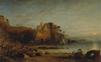 a view of a castle on the cliff of a rocky coast with highland cattle on the beach below by david octavius hill