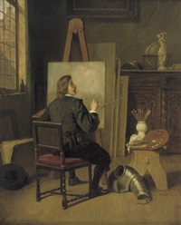 an artist in his studio by johannes christoffel vaarberg