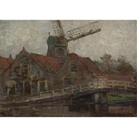 houses and paltrok mill on the voorweg by piet mondrian