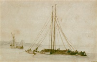 a barge and fishing vessels on a calm sea, off a hilly coastline by abraham de verwer