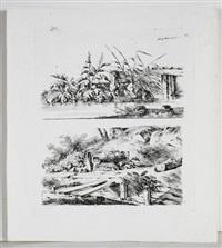 ansichten verschiedener bauernhäuser, felspartien und baumdarstellungen (12 works) by georg adam