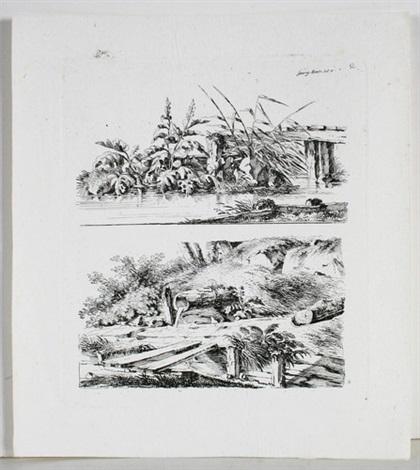 ansichten verschiedener bauernhäuser felspartien und baumdarstellungen 12 works by georg adam