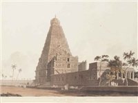 mausoleum of sultan chusero, near allahabad; the great bull, an hindoo idol, at tanjore; and the great pagoda, tanjore (3 works) by thomas daniell